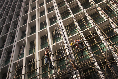 Bamboo scaffolding being erected in Hong Kong