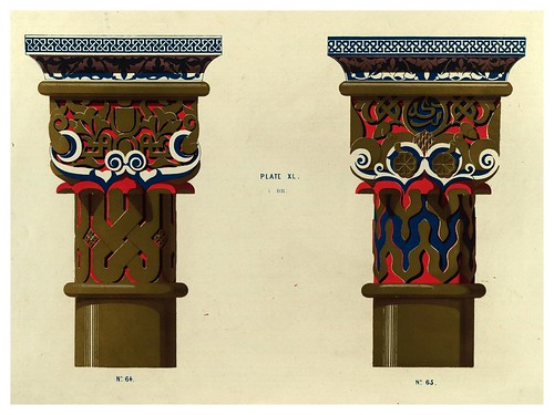 016-Capiteles de columnas en el patio de los Leones-Plans- elevations- sections and details of the Alhambra Vol 2-1842-Jules Goury y Owen Jones