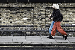 sync (Screen Deb) Tags: blue girls red london lines walking movement graphic blond journey matching camdentown nw1 pantaloons instep lvp synchronisation anneclements agargrove londonvillageproject