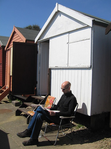 Phil at the Gyford family beach hut, Hipkins Beach, Walton on the Naze