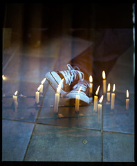 Footcandles (Mike Oddhayward) Tags: light feet shoe xpro candles legs hasselblad flame tiles laces 500cm dbx hasselblad500cm fujipro400 homedev homescan filmswap