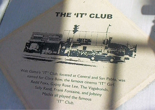 History marker outside the location of the It Club at San Pablo and Central avenues.