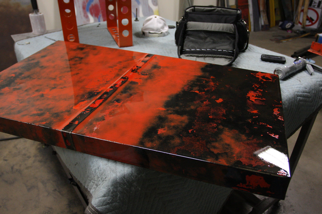 Clear coated coffee table top