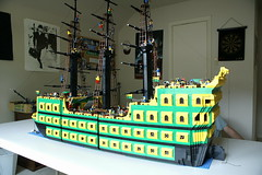 PatsPirateShip_02 (SavaTheAggie) Tags: ocean water giant ship lego modular pirate cannon huge sail mast minifig galleon