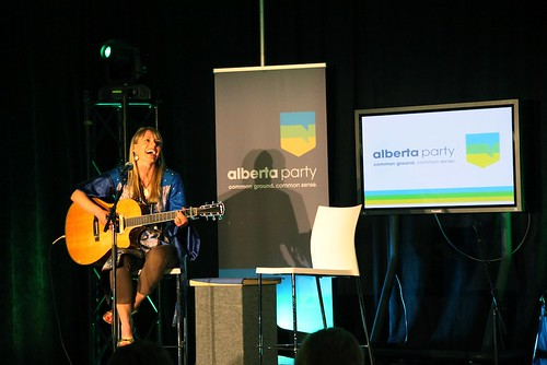 "Outgoing Alberta Party interim leader Sue Huff sang a tongue-in-cheek rendition of ""Over the rainbow"" to participants at the Alberta Party leadership convention at Edmonton's Shaw Conference Centre on May 28, 2011."