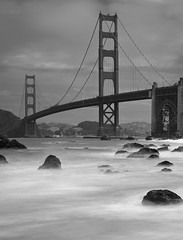 Baker Beach Impressions (Sebastian (sibbiblue)) Tags: sanfrancisco california bridge blackandwhite bw usa architecture bakerbeach 18105 longexpsoure nd110 bwnd110 nikond7000