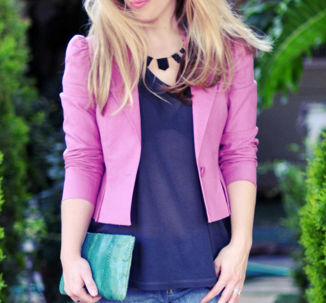 house of harlow necklace  +  pink short jacket + snakeskin clutch + pink lips