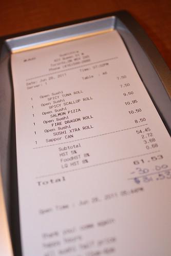 Sushi Xtra bill