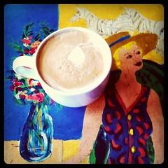 Latte (andy.brooks) Tags: flowers blue art coffee hat lady table cafe district richmond vase latte danube zebras instagram