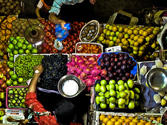 Fruit Stand From Above (philborg) Tags: fruit stand market vegetable myanmar selling mandalay fruti