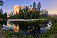 The Golden Captain and His Three Brothers (denny.yang) Tags: none yosemite national park el capitan three brothers sunrise smooth mirror reflection sony a7rii a7rm2 stitch denny yang dennyyang