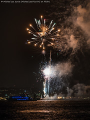 New York Fireworks - 10/6/16 (DSC09348) (Michael.Lee.Pics.NYC) Tags: newyork fireworks 2016 harbor libertyisland reflection smoke sony a7rm2 fe70300mmg