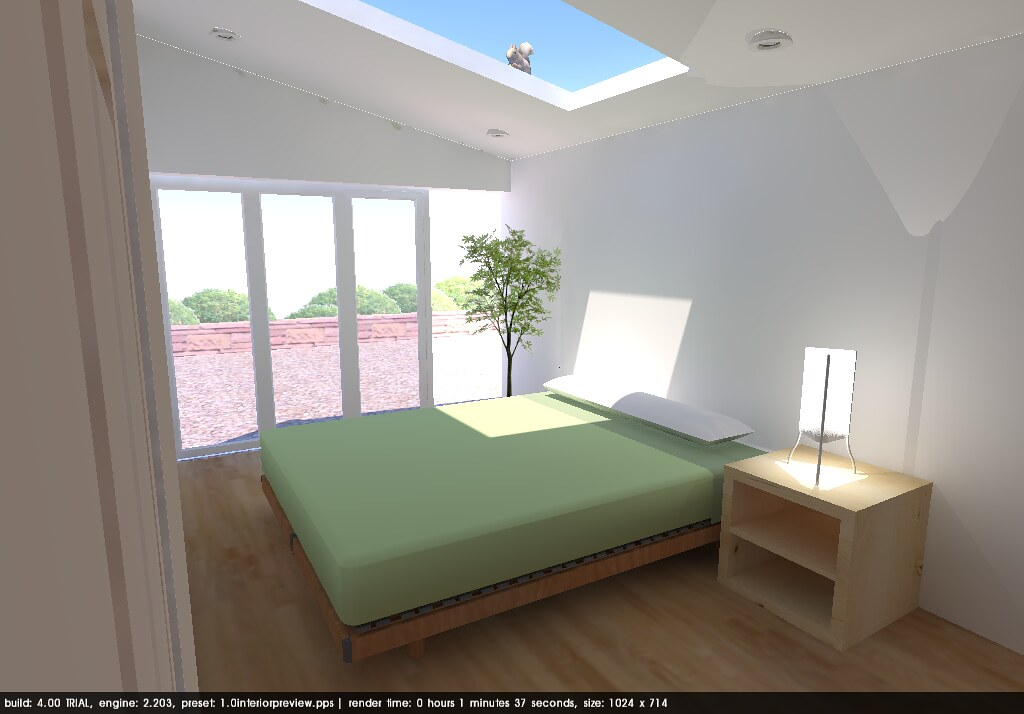 3D Bedroom looking out of window