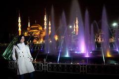 Shaddha at The Blue Mosque (Eyebeam Photography) Tags: blue color fountain night slow mosque shutter shraddha the