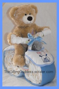 Baby Blue Motorcycle - Diaper Cake For A Baby Boy