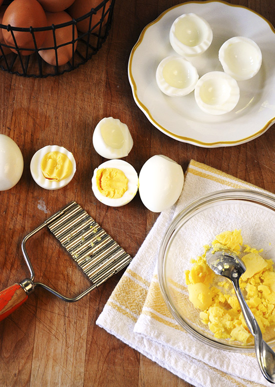 preparing deviled eggs
