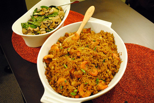 Nasi goreng and simmered snow peas with mushrooms