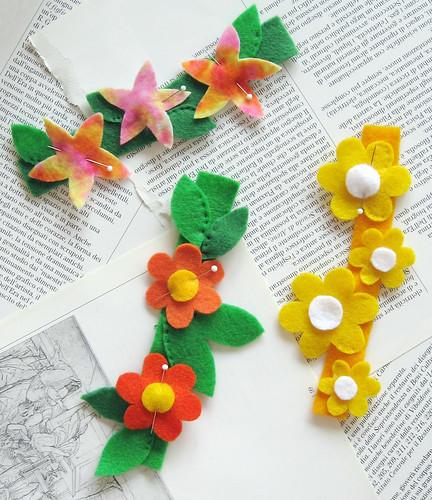 Spring felt flower cuffs