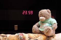 Hurry up! one minute is left till midnight :-S (KaterRina) Tags: bear clock toy time watch almostmidnight oneobject365daysproject pukatukas