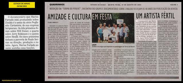 """""""Amizade e cultura em festa"""" - Estado de Minas - 29/08/2002"""