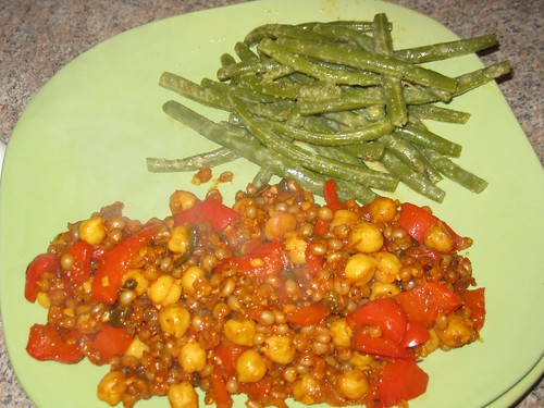 Wheatberry paella and green beans