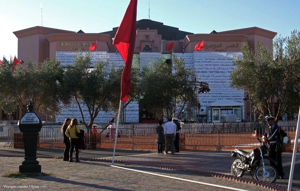 Le Palais des Congrès de Marrakech, décoré à l'occasion du festival de cinéma
