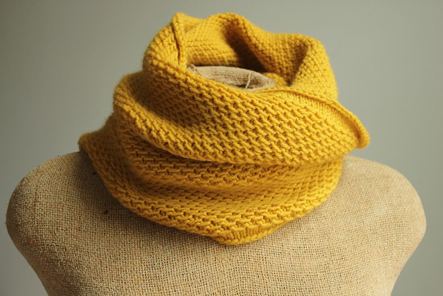knit honey cowl in mustard yellow knit picks cashmere yarn