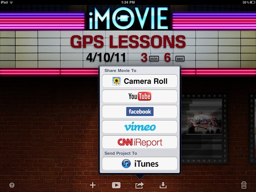 iMovie for iPad Sharing Options