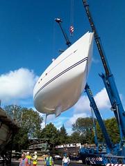 Oyster 82 Released from mould,  Bridgeland mouldings  2010 (dangerousdavecarper) Tags: uk industry abbey mobile boat sailing phone yacht crane transport norfolk lg oyster fiberglass moulding grp