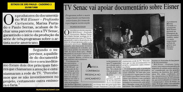 """""""TV Senac vai apoiar documentário sobre Eisner"""" - Estado de São Paulo - 25/09/1998"""