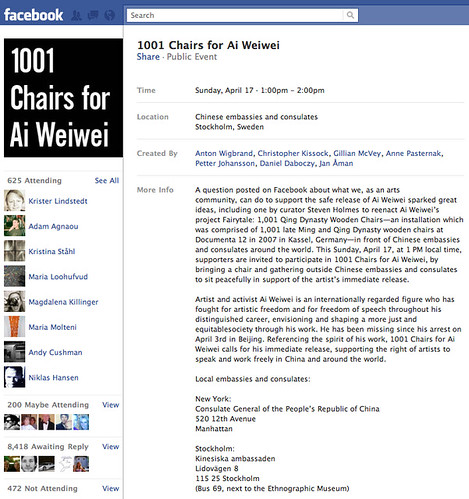 1001 Chairs for Ai Weiwei