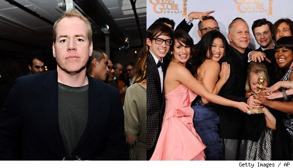 Bret Easton Ellis and the cast of Glee
