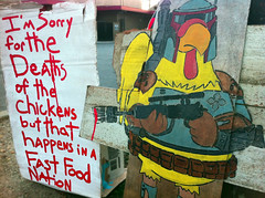 I'm sorry for the Deaths of the chickens  it that happens in a fast food nation (Free Humanity) Tags: from new wood chicken up humanity recycled free made cardboard installation boba piece entitled fett puts