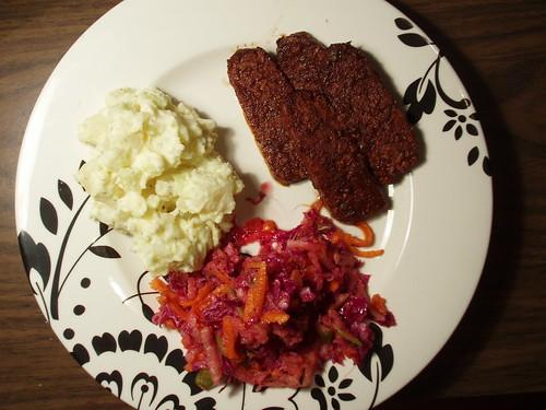 tempeh, potato salad and power slaw