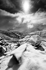 Clearing Skies (Wolfhorn) Tags: sky bw nature clouds landscape remote wilderness rugged alaskarange freshsnow coppercreek