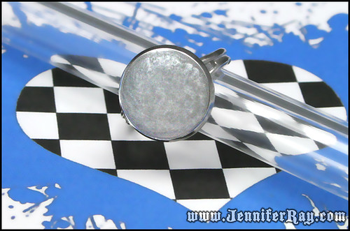 Liquid Silver Ring - White Resin Adjustable Silver toned Ring by JenniferRay.com