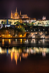 St. Vitus Cathedral reflection (Miroslav Petrasko (blog.hdrshooter.net)) Tags: city bridge light reflection castle water st night canon prague cathedral tripod sigma prag praha praga center most vltava hdr vitus karlov karls 18200mm photomatix 450d theodevil hdrshooter