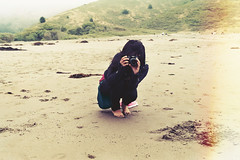 Ocean Air (Aubry Aragon) Tags: camera summer urban film feet beach girl 35mm sand foggy hills indie breeze muir