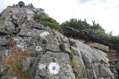 大キレットの岩場のマーキング