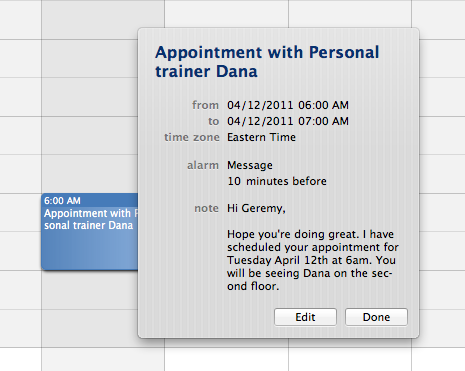 Meeting w/ the Personal Trainer