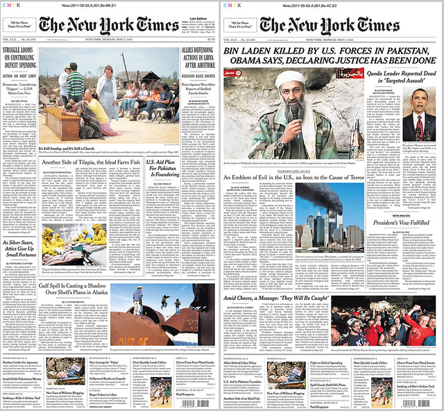 The planned front page for today's NYT at left; at right, the Bin Laden Killed version. (Major props to NYT newsroom for amazingly quick turnaround.)