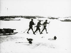 Men walking on ice