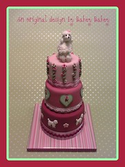 Bakey Bakey Poodle Garden Tiered Cake (Bakey Bakey) Tags: food dog poodles dogs cake puppy pretty celebration birthdaycake poodle happybirthday dogshow toydog crufts canines cakedecorating tieredcake sugarcraft celebrationcake stackedcake bakeybakey