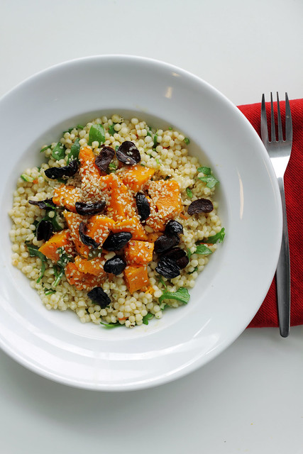 Butternut Squash, Rocket and Black Olives Couscous