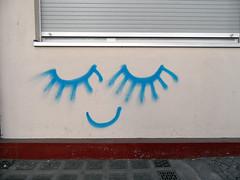 Sleep well (onnola) Tags: streetart berlin window smile night kreuzberg germany deutschland graffiti eyes closed break lashes sleep fenster kunst jalousie shutter pause augen schlafen mund lächeln ruhe wimpern rolladen geschlossen strasenkunst