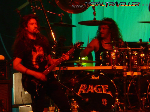 Victor Smolski on guitars and André Hilgers on drums with Rage live in Mons