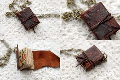 Crackly Brandy (Bibliographica) Tags: book miniature necklace treasure little journal mini jewelry charm chain tiny bookbinding pendant whimsical petit trinket handbound teastained bibliographica