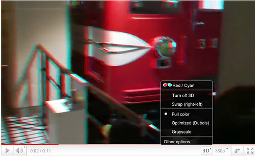 YouTube 3D menu