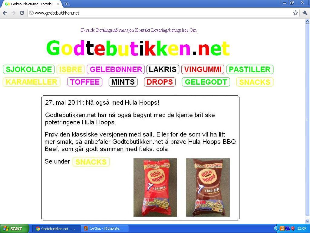 ny versjon godtebutikken.net forside