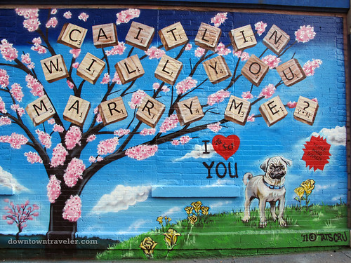 Street art marriage proposal